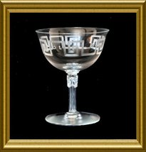 Fostoria Crystal Low Champagne or Sherbet Goblet with Greek Key cutting - $28.00