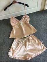 2pcs Milo Satin Sleepwear Sexy Lingerie V-neck Gecelik Lacy Backless Paj... - $24.70