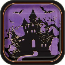 "Square 8"" Haunted House Halloween Dessert Plates, 10ct Haunted Creepy House New - $8.61"