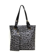 Fashion Tote With Leopard Print Handbag Grey Designer Look Shopper Large... - $24.99