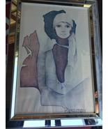 Vintage CHRISTINE ROSAMOND Art Print canvas 25.5x35.5 mirrored frame Simone - $187.00