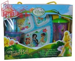 Tinkerbell+Fairies 5pc Mealtime Dinnerware Set,Plate,Bowl,Fork&Spoon,Sip... - $39.59