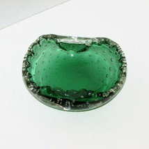 "GREEN ART GLASS BOWL CONTROLLED BUBBLES ASHTRAY STUDIO NOT SIGNED 4"" X 3"" - $22.97"