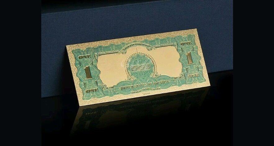 """/<UNC.MINT/>1899 /""""GOLD BILL/""""$1 SILVER CERTIFICATE BLACK EAGLE Banknote Rep* W//COA~"""