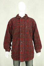 Columbia fleece jacket 2XL vintage deep pile plaid 90's made in USA red ... - $30.00