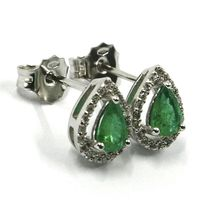 18K WHITE GOLD EARRINGS, EMERALD 0.55 CARATS, DROP CUT, DIAMONDS FRAME 0.18 CT image 2