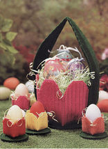Plastic Canvas Easter Tulip Basket Photo Hanging Centerpiece Egg Cups Pa... - $8.99
