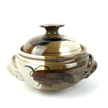 Stoneware Pudding Casserole Pottery Dish Art Design w/Lid EC - $21.56