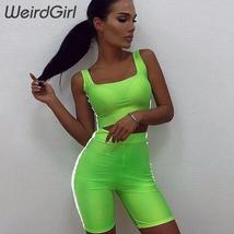 Weirdgirl women sporting suits 2 pieces fitness casual reflection slim pullover  image 4