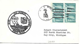 MANLEY (DD-940) 8 Jul 1961 Locy Type 2t(n+u) Postmark Ships Cachet - $3.47