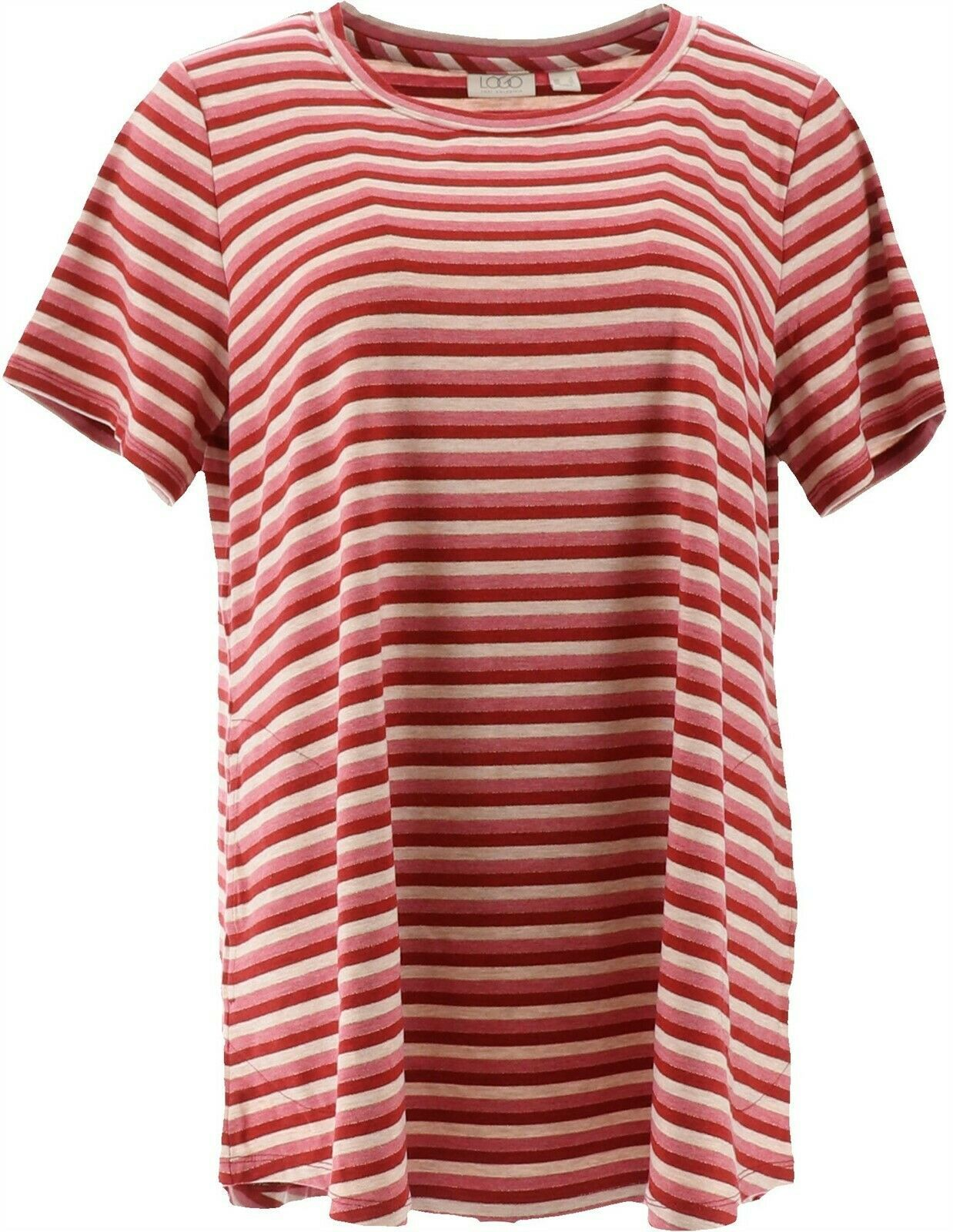 Primary image for LOGO Lori Goldstein Metallic Stripe Knit Top Short Slvs Warm Rose XL NEW A347459