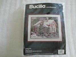 """Sealed 1994 Bucilla Holiday House Needlepoint Kit #4681 - 16"""" X 12"""" - $49.00"""