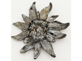 Large Flower with Rhinestone Center Bead, Silver image 2