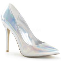 "Pleaser Sexy Shoes Silver Hologram 5"" Stiletto Pumps High Heels AMU20/SHGPU - $52.95"