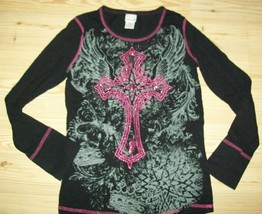 Xhilaration Girls Top Size L 12 Black Glittery Cross Wings Shirt Casual ... - $16.82
