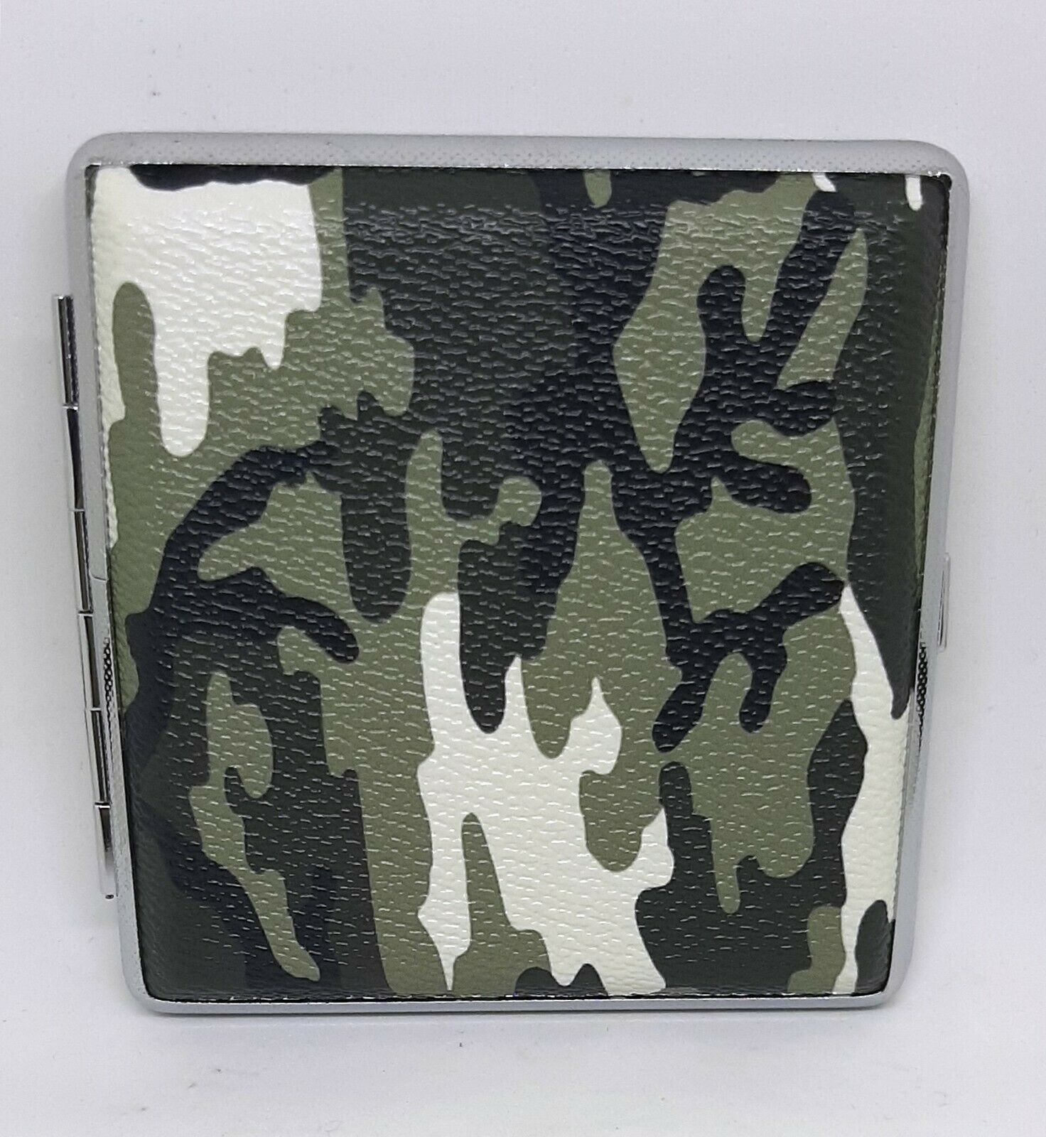 Primary image for Eclipse Greens Camo Silver Framed PU Leather King Size Cigarette Case