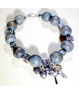 Christian Believe Bracelet Faith Design, 925 Silver, Wood And Cube Lette... - $18.00