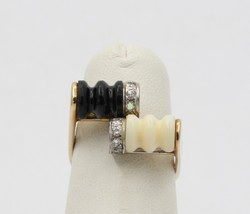 Vintage 14K Gold Onyx and Bone, Diamond Bypass Ring, Funky Statement - $519.75