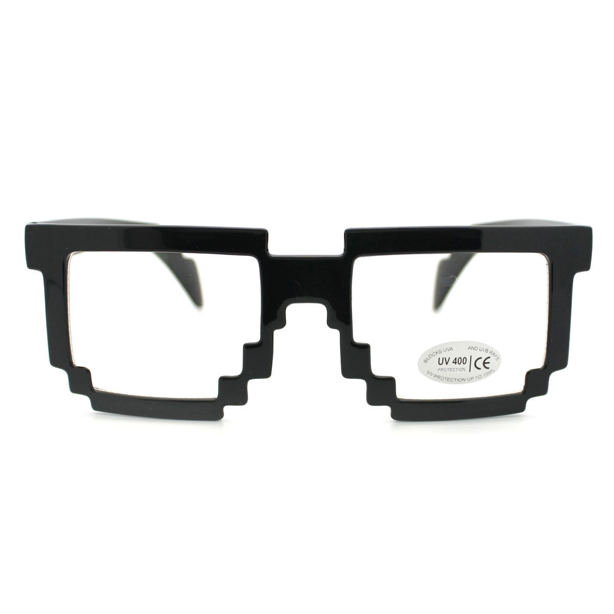 PIXEL PARTY Sunglasses CLEAR Lens Eyeglasses FUN GAME Novelty Fashion Wear BLACK