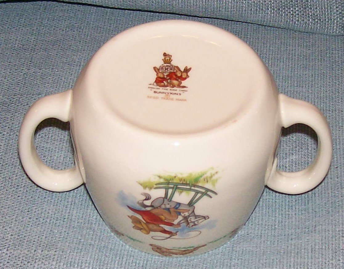 Royal Doulton Bunnykins -2 Handled Child Cup - Cowboys and Indians -VGUC image 6