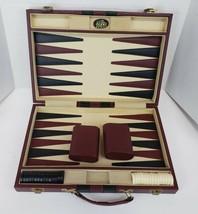 Vintage Mr Man Backgammon Game Faux Leather Brown Case - $15.98