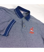 Cleveland Indians Chief Wahoo Blue White Polo Golf Shirt True Fan MLB Sz XL - $29.99