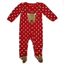 Carters Girls Christmas Pajamas 9M Reindeer Red White Polka Dot Fleece Sleeper - $9.99