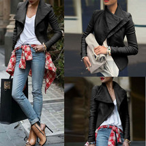 Womens PU Leather Zipper Jacket Slim Fit Biker Motorcycle Coat Punk Outw... - $65.40