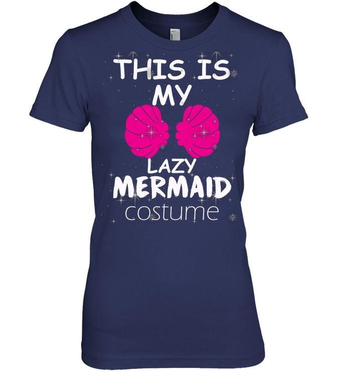 Funny Lazy Mermaid Halloween Costume Tshirt
