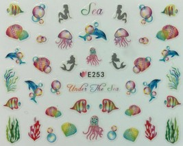 Nail Art 3D Decal Stickers Under the Sea Fish Octopus Mermaid Shells E253 - $3.19