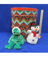 Ty Beanie Baby Snowball Snowman 2002 Holiday Teddy Green Reindeer Horns ... - $19.74