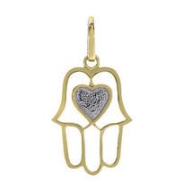 14K Two Tone Gold Hamsa With Heart Pendant - $167.31