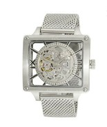 NEW Skeleton 53mm Adee kaye mens watch Masculum Collection G2 Silver Ton... - $224.42