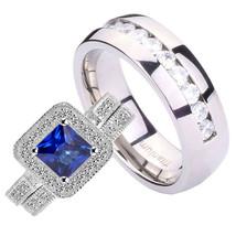 His & Her 3 pcs Princess 1.6CT Blue CZ Silver 925 Eternity Titanium Men ... - $47.98