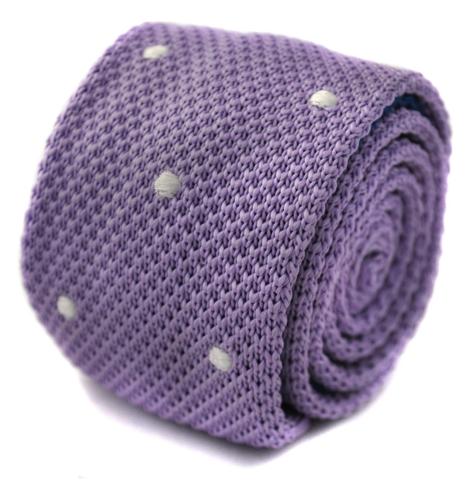 Frederick Thomas knitted lilac and white spotted tie