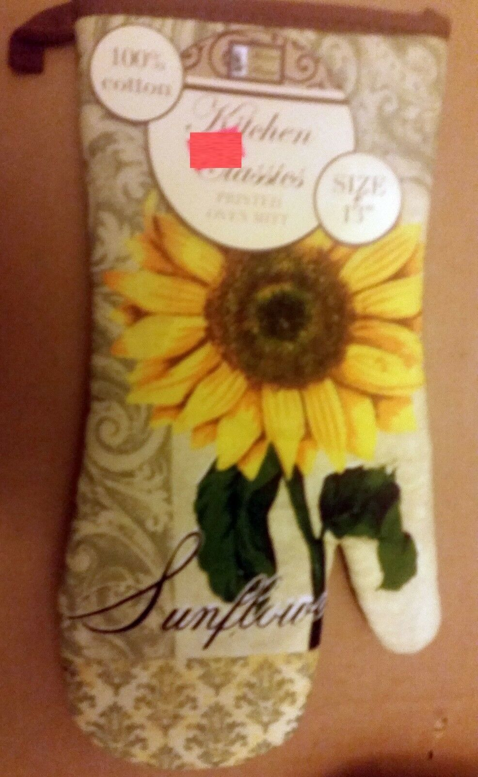 """Printed Kitchen 13"""" Large Oven Mitt, SUNFLOWER # 2, brown back by BH"""