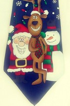 Hallmark Tie Holiday Scene Santa/Reindeer/Snowman Black/Snowflakes Graph... - $16.93
