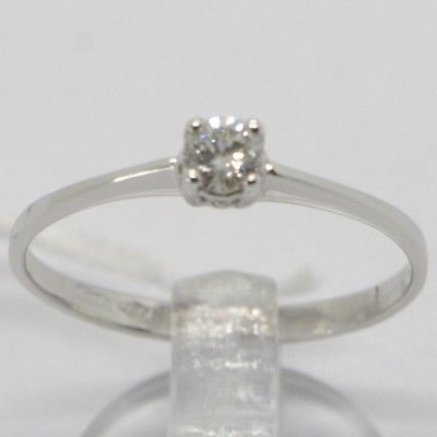 WHITE GOLD RING 750 18K, SOLITAIRE WITH DIAMOND CARAT 0.14, SQUARE, ITALY