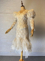 Vintage Style White Lace Dress Outfit Sleeve Mermaid Lace Bridal Wedding Outfit image 5