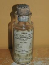 """Antique 5"""" Chemical Bottle Strontium Chloride P-W-R Calkins Co w Label &... - $26.99"""