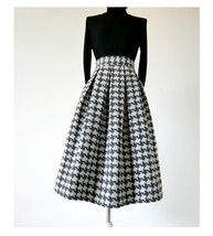Winter Yellow Houndstooth Skirt Women Houndstooth Midi Pleated Skirt Wool Plus image 10