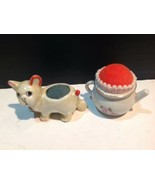 Vintage Lot 2 Porcelain Pin Cushion Cat And Tea Pot Made Japan - $19.80