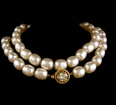 Signed Miriam Haskell Necklace 1 stand vintage baroque pearls costume de... - $125.00