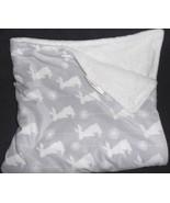 Blankets and Beyond Baby Blanket Grey White Bunny Rabbits Dandelion - $26.10