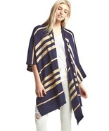 Gap Women's Stripe Poncho, Nylon Cotton Wool, Dark Night, Navy, One Size... - $53.86