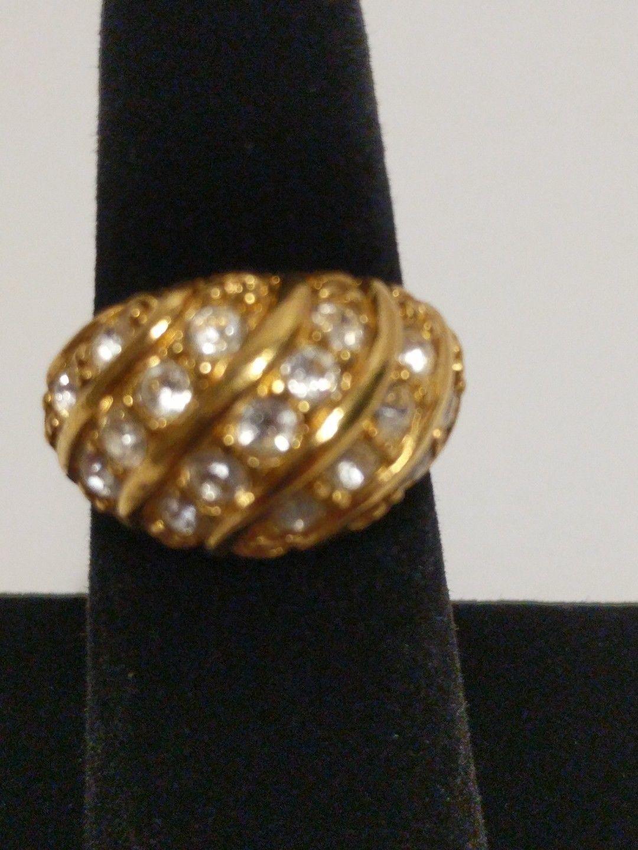 Avon Gold Tone Ring with Rhinestones image 2