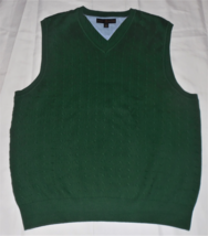 Tommy Hilfiger Golf L Green Cable Knit V-Neck Pullover Sleeveless Sweate... - $17.80