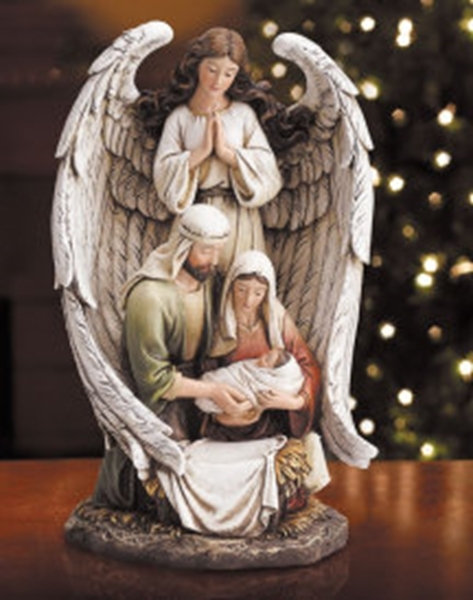 Guardian angel with the holy family figurine n94