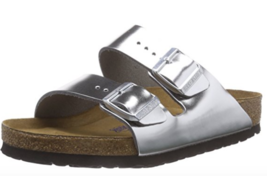 36742ab3f32 Birkenstock Arizona Metallic Silver Soft Footbed Leather 752713 Eu 37 Us 6  -  96.99