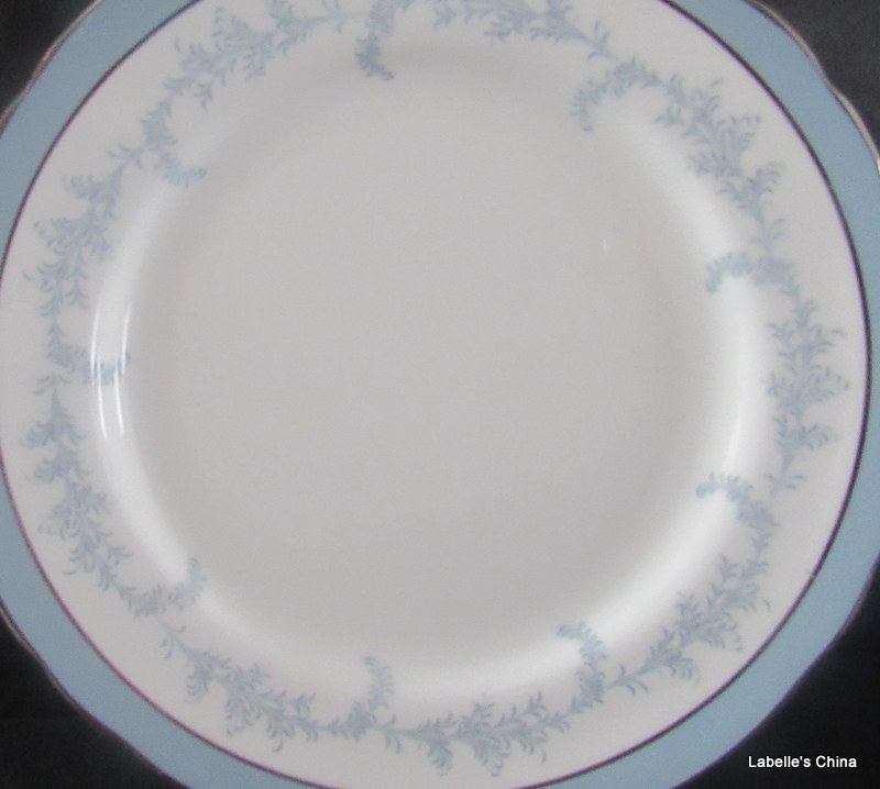 "Primary image for Kenmore Scallop Rim 6.5"" Plate Silver Trim Bone China Made in England by Aynsley"